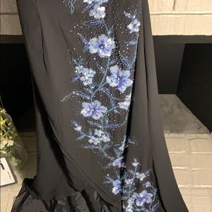 Dresses - Marina black gown with blue sequences